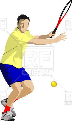 239x400 Tennis Player With Racket In Action Royalty Free Vector Clip Art