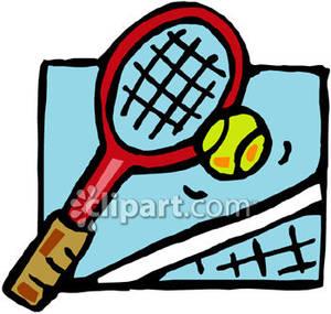 300x285 A Tennis Racket, Ball And Net