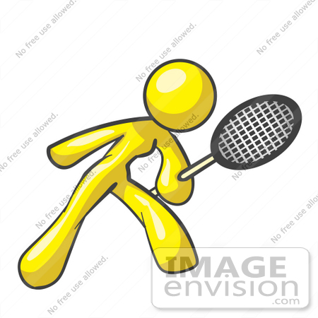 450x450 Clip Art Graphic Of A Yellow Lady Character Playing Tennis
