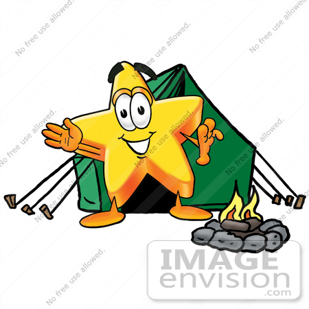 450x450 Cliprt Graphic Of Yellow Star Cartoon Character Camping