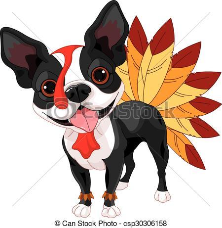 450x461 Thanksgiving Boston Terrier Illustration Of Cute Boston