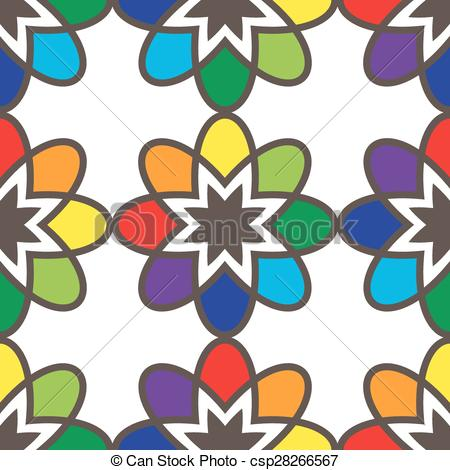450x470 Flower Seamless Pattern Bright Colors. Vector Illustration Clip