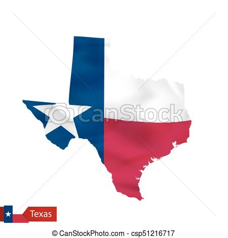 450x470 Texas State Map With Waving Flag Of Us State. Vector Vector