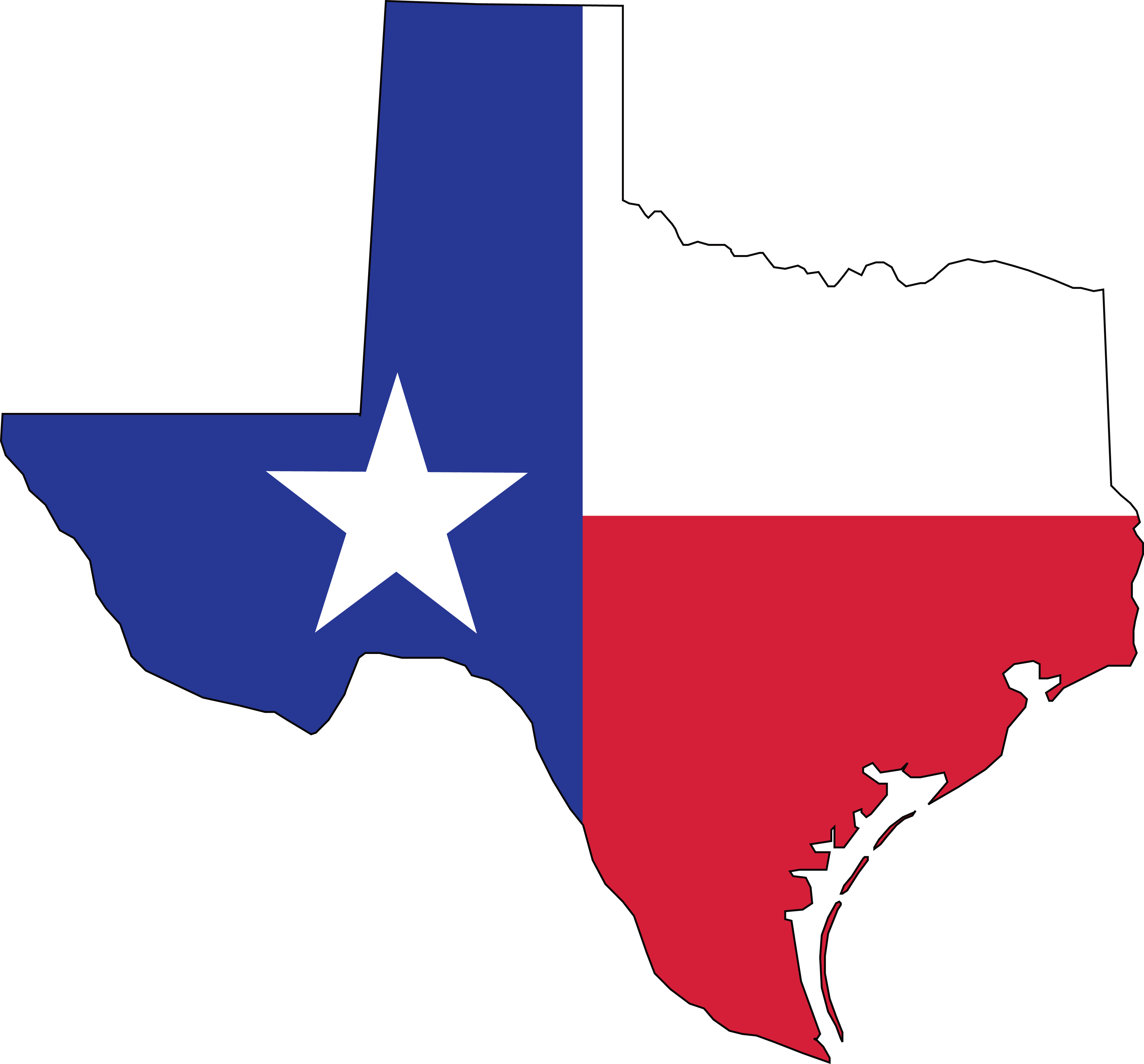 4000x3721 Free Clipart Of A Texas Flag Map