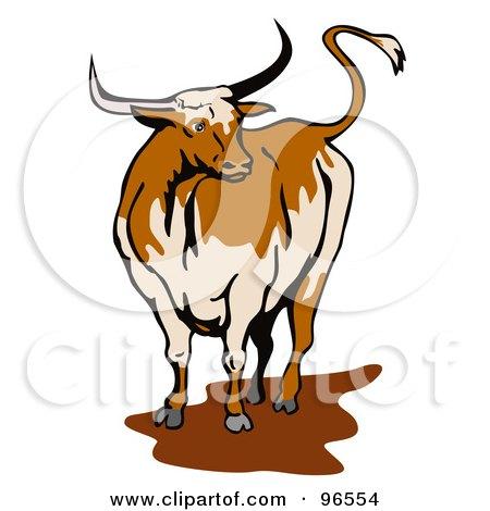 450x470 Royalty Free (Rf) Clipart Illustration Of A Texas Longhorn Bull