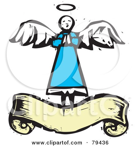 450x470 Clipart Of An Angel Playing A Trumpet Black And White Woodcut