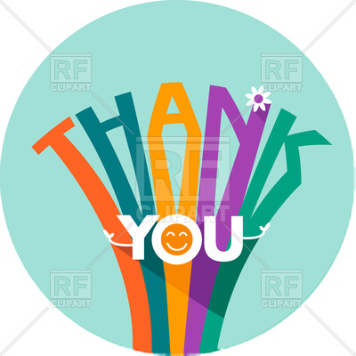 400x400 Thank You Card In Flat Style Royalty Free Vector Clip Art Image
