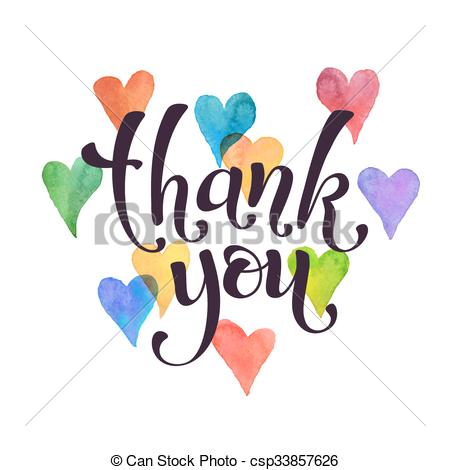 450x470 Thank You Card. Thank You Lettering With Watercolor Hearts