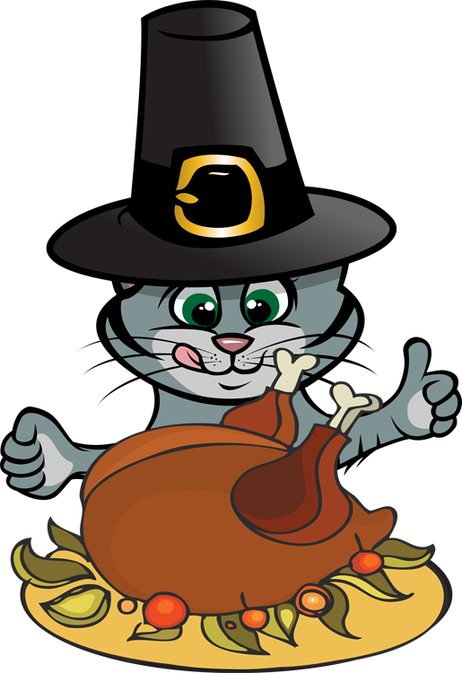 515x750 Feline Clipart Happy Thanksgiving