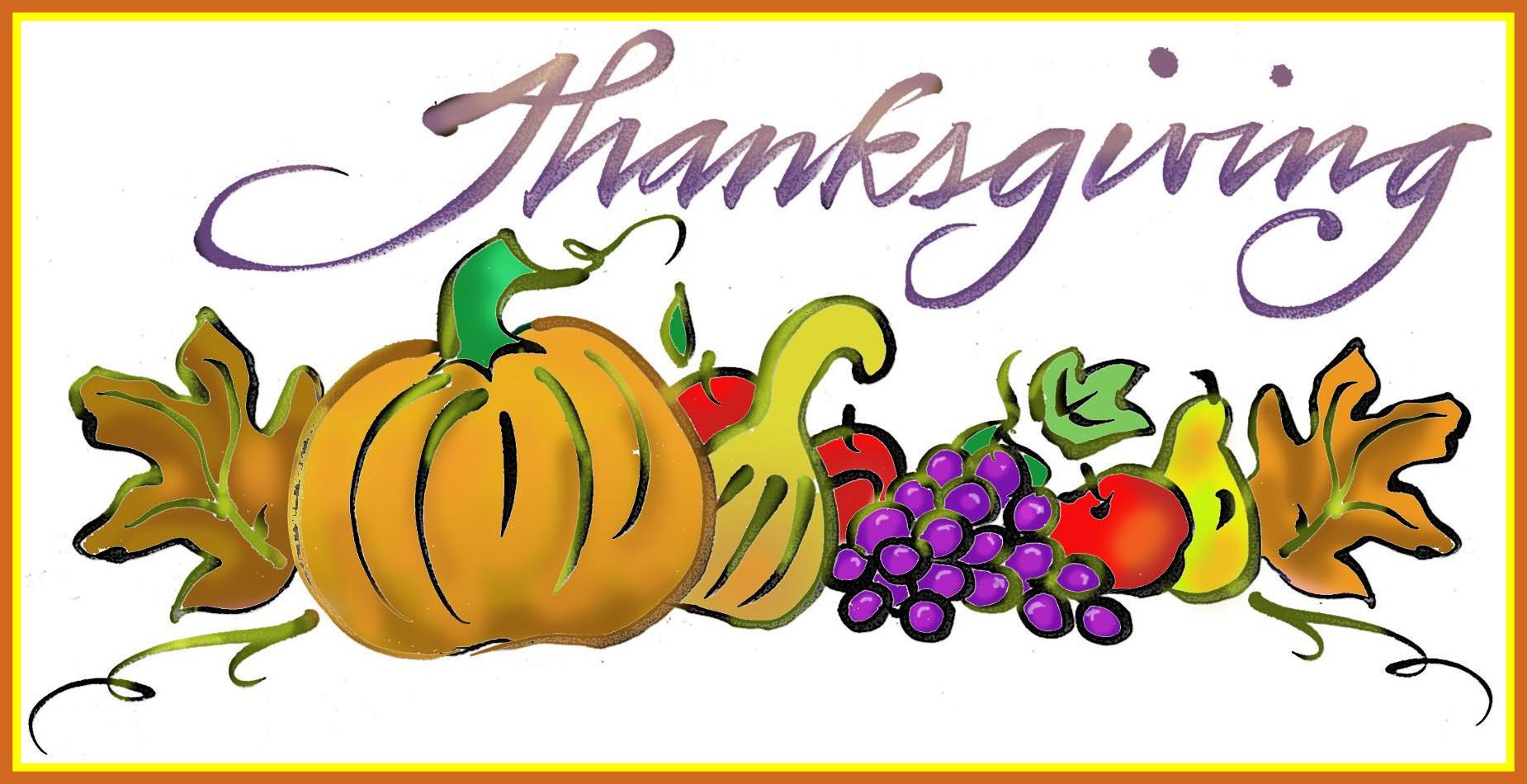 1850x950credible Cornucopia Clipart Thanksgiving Food Pencil And