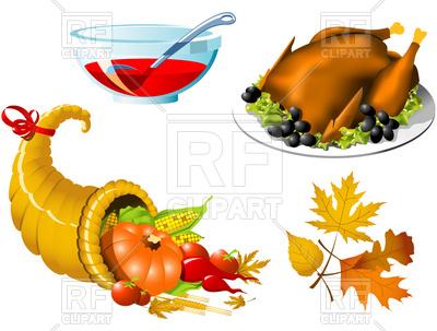 400x303 Thanksgiving Roasted Turkey And Cornucopia Royalty Free Vector