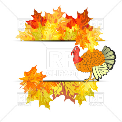 400x400 Thanksgiving Day Banner With Autumn Maple Leaves And Turkey