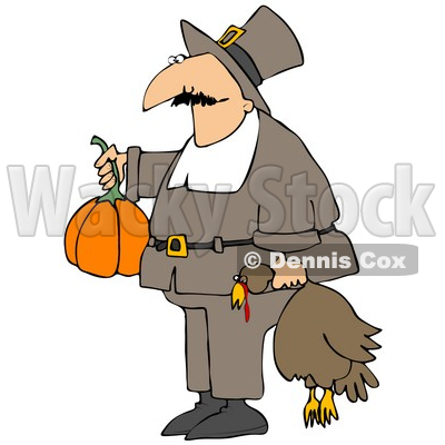 400x400 Clipart Illustration Of Male Pilgrim In Brown, Carrying