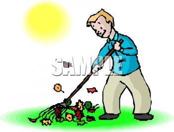 350x265 Royalty Free Clip Art Image Man Raking Leaves In The Fall Or Autumn