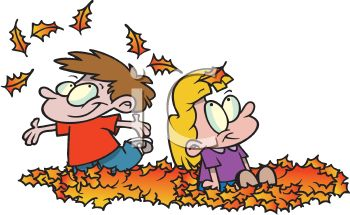 350x215 Two Little Kids Enjoying Autumn Playing In A Pile Of Leaves