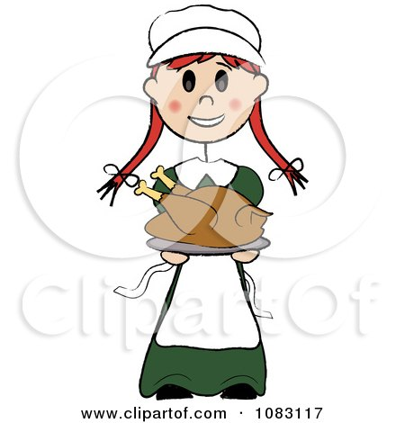 450x470 Clipart Thanksgiving Stick Pilgrim Girl Holding A Turkey
