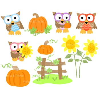 350x350 Harvest Owls Clipart Fall Clipart Pumpkin Patch Sunflower