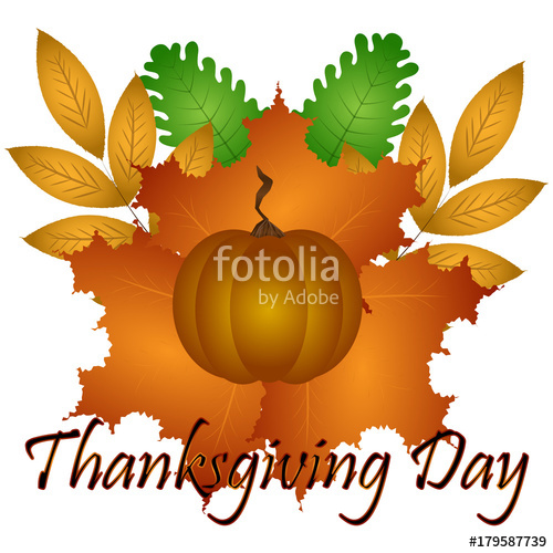 500x500 Pumpkin And Autumn Leaves, Thanksgiving Day, Vector Illustration