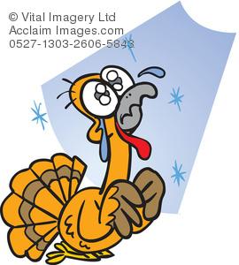 270x300 Cartoon Clip Art Illustration Of A Scared Turkey