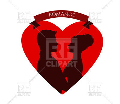 400x347 Silhouette Of Kissing Couple In Red Heart Royalty Free Vector Clip