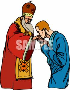 234x300 A Man Kissing The Pope's Hand Clipart Image