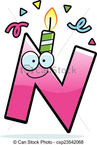 314x470 Cartoon Letter N Birthday. A Cartoon Illustration Of A Clip Art