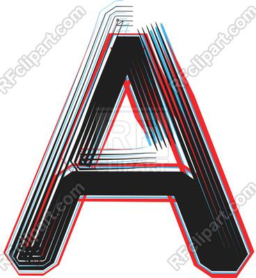 368x400 Grunge Line Font Illustration Letter A Royalty Free Vector Clip
