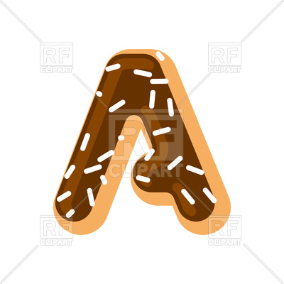 400x400 Letter A Donut Font Royalty Free Vector Clip Art Image