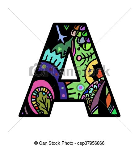 450x470 Letter A Hand Drawn Doodle Style Lettering Word Colorful. Clip Art