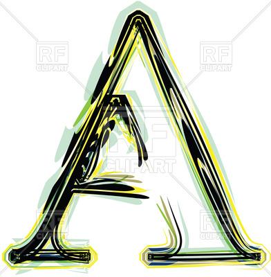 392x400 Organic Font Illustration Letter A Royalty Free Vector Clip Art