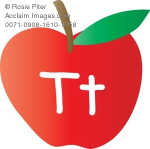 300x298 Clip Art Illustration Of An Apple With The Letter T Written On It