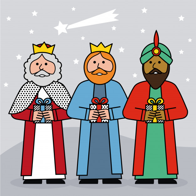 626x626 The Three Kings Of Orient On A Blue Background Vector Premium