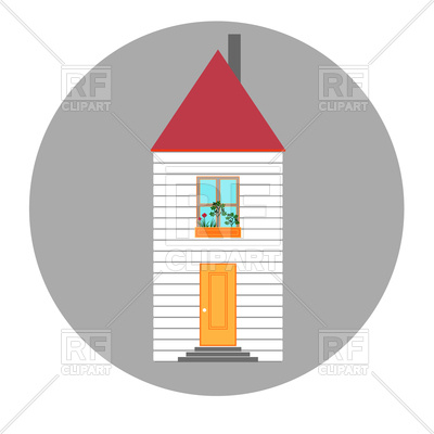 400x400 Cartoon Flat White House With Red Roof Icon Free Download Vector