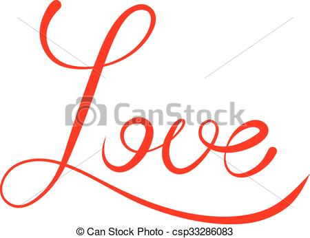 450x346 Word Love Script. Word Love Isolated On White. Lettering