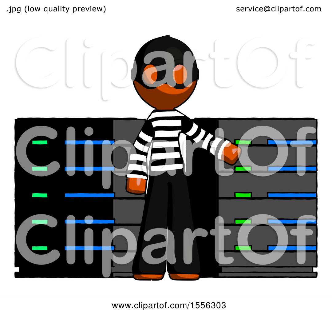 1080x1024 Orange Thief Man With Server Racks, In Front Of Two Networked