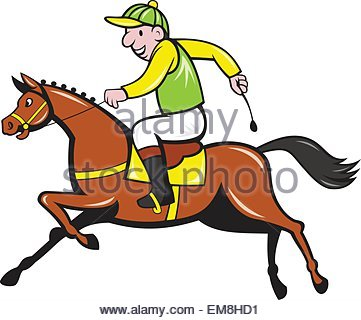 361x320 Illustration Of A Cartoon Horse And Equestrian Jockey Racing