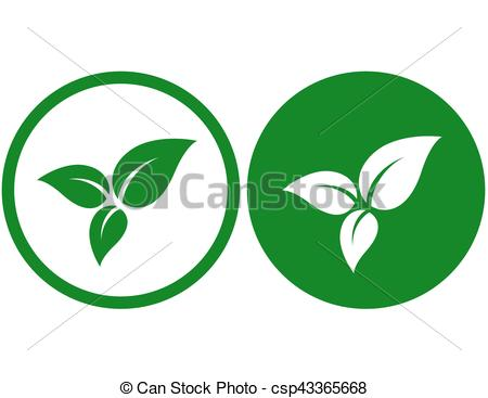 450x367 Icon With Green Leaves. Icon With Three Green Isolated Clip Art