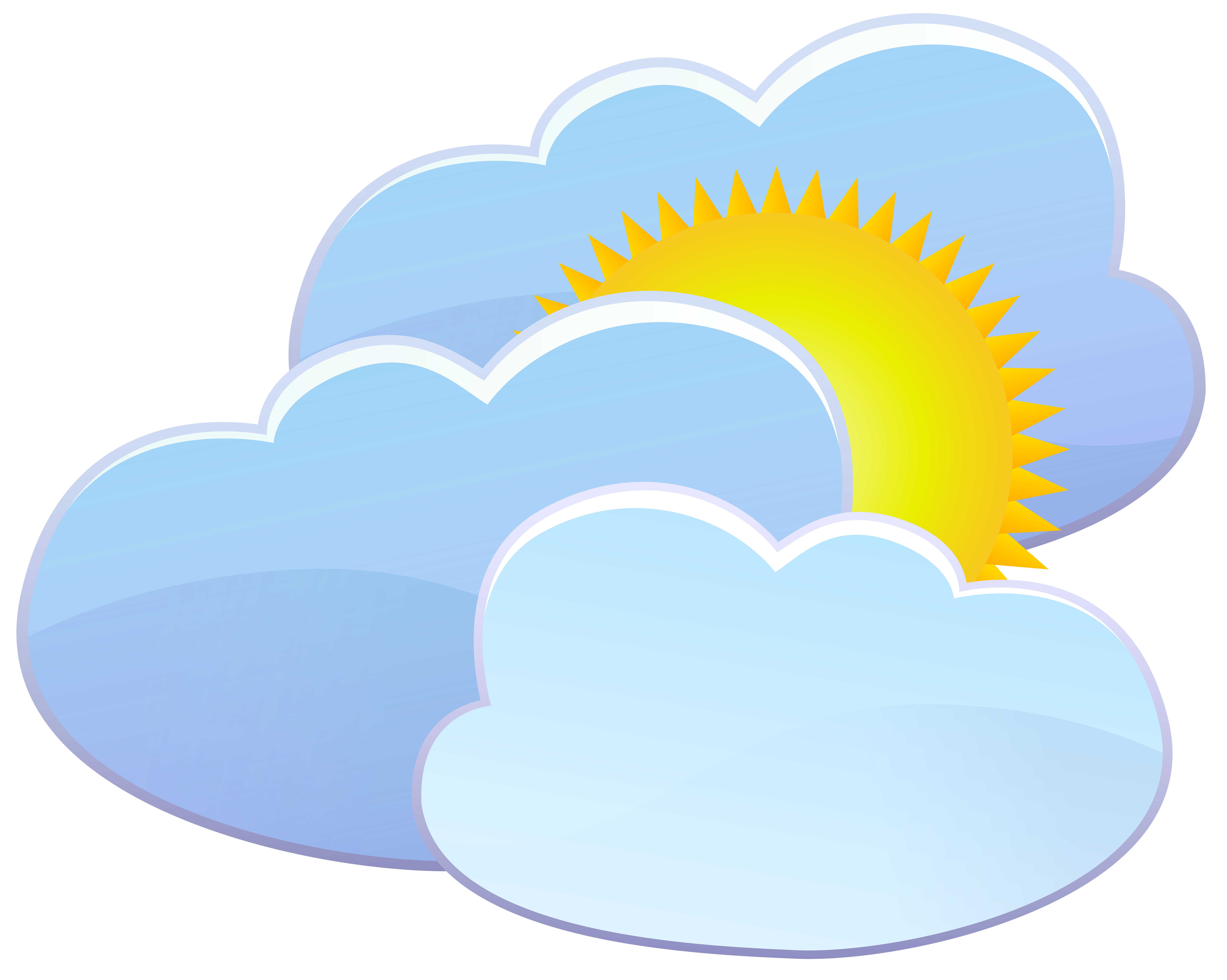 8000x6393 Three Clouds And Sun Weather Icon Png Clip Art