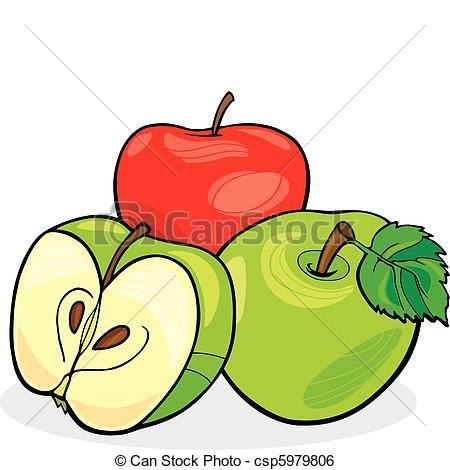 450x470 Three Apples. Illustration Of Three Juicy Apples Clip Art Vector