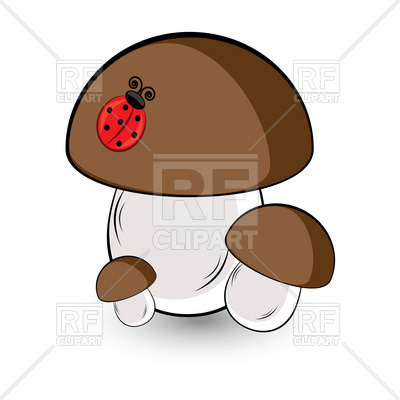 400x400 Three White Mushroom And Ladybug Royalty Free Vector Clip Art