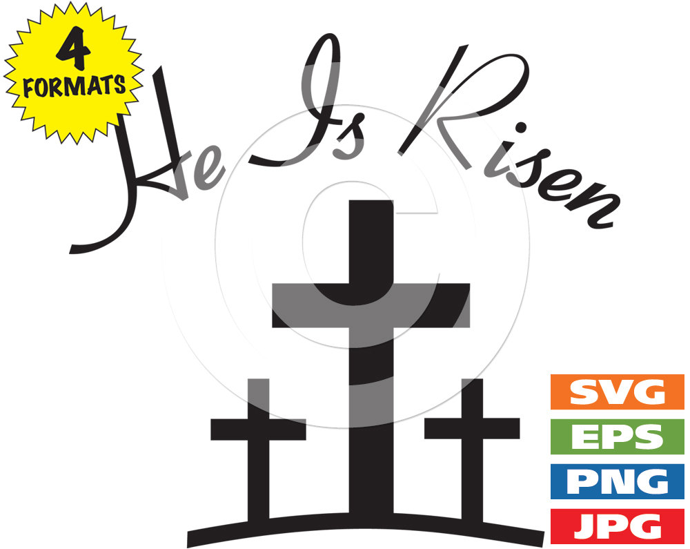 1000x795 He Is Risen With 3 Crosses Clip Art Image