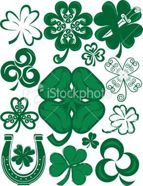 293x380 Three And Four Leaf Clover Clip Art Design Elements, Vector Art