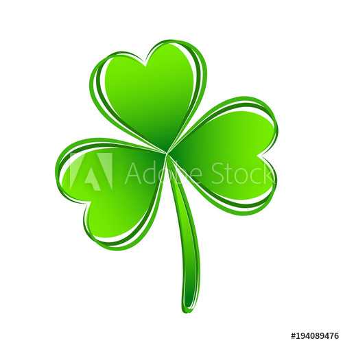 500x500 Three Leaf Green Clover Hand Draw. Lucky Quatrefoil. Good Luck