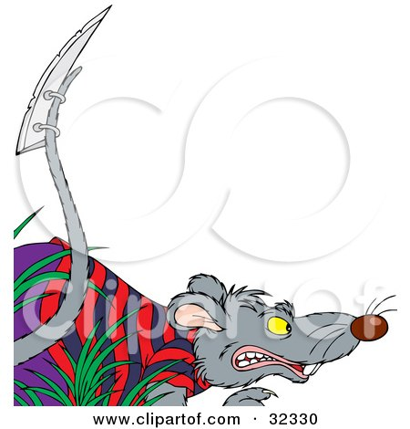 450x470 Clipart Illustration Of A Tough Rat In Clothes, A Razor Blade