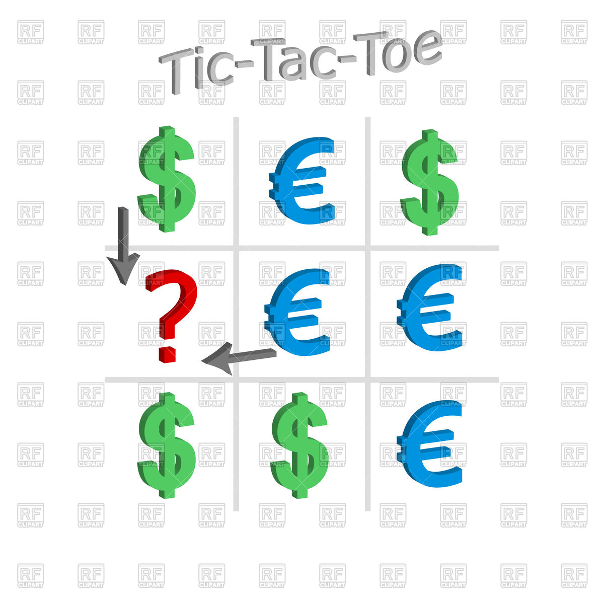 1200x1200 Tic Tac Toe Concept Of Exchange Rate Of Dollar And Euro Royalty