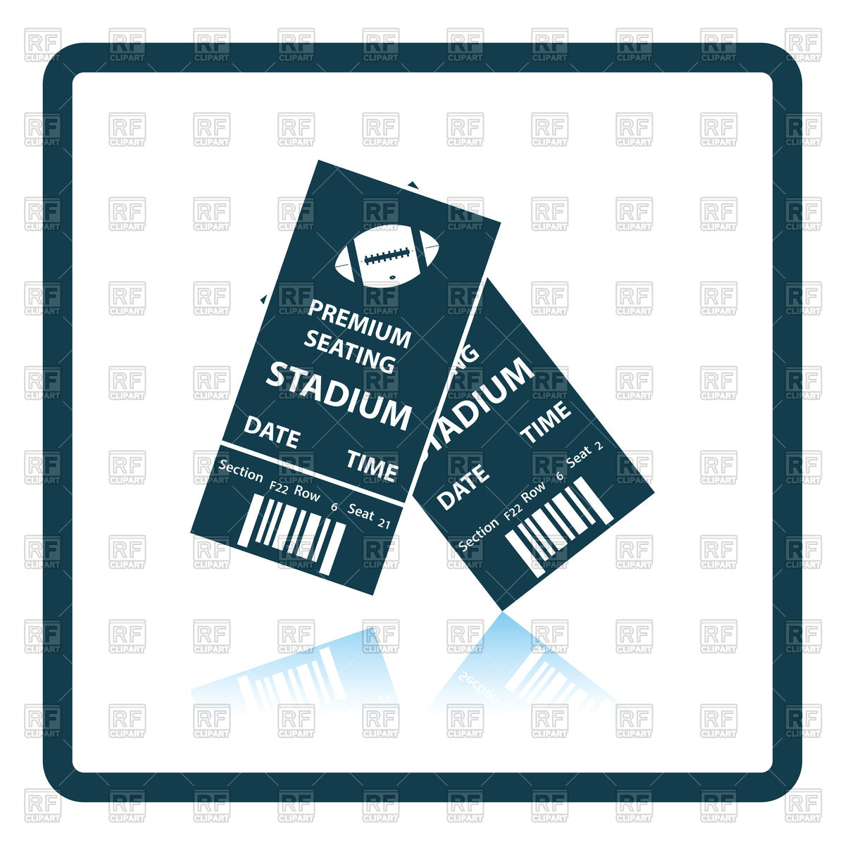 1200x1200 Shadow Reflection Design Of American Football Tickets Royalty Free