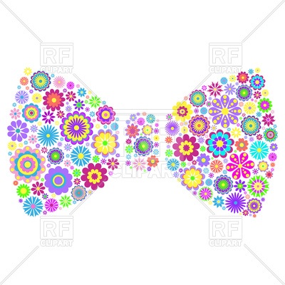 400x400 Illustration Of Colorful Floral Bow Tie On White Background