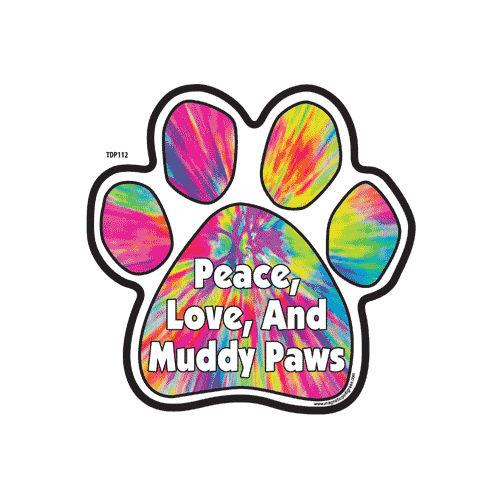 500x500 Peace Love And Muddy Paws Tie Dye Dog Paw Magnet Doggy Style Gifts