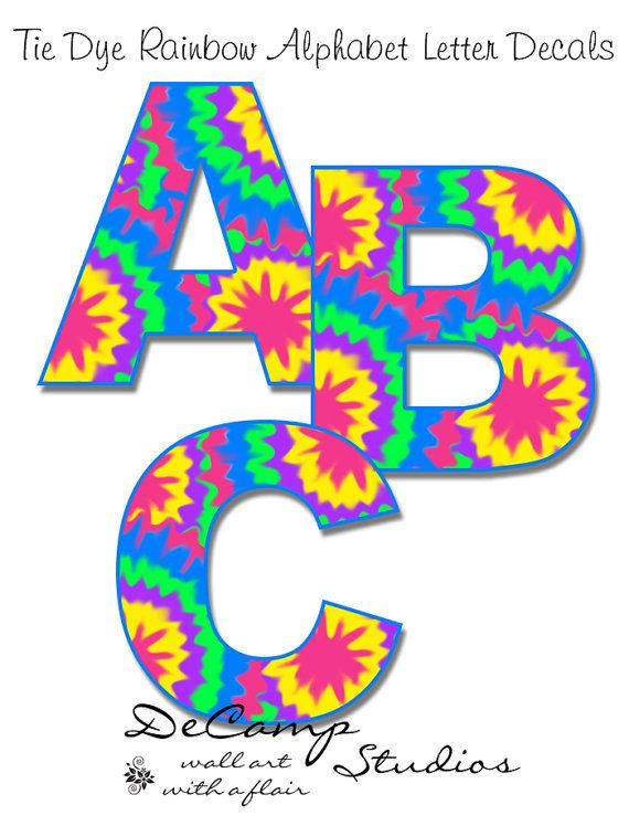 570x748 Rainbow Tie Dye Alphabet Letters Wall Art Decals For Teen Girls