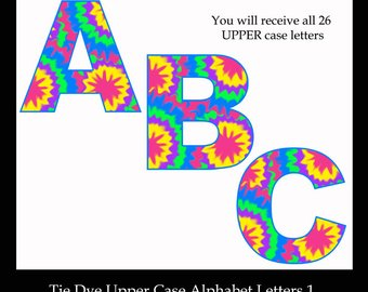 340x270 Tie Dye Letter Clipart Alphabet Digital Graphics Clip Art